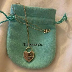 Tiffany and co heart padlock Charm Necklace